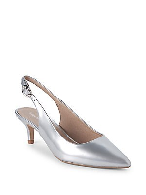 Kitten Heel Metallic Leather Slingback Pumps