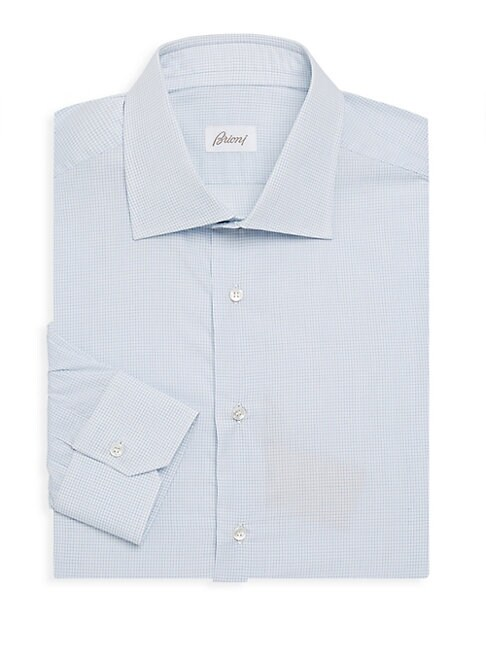 Cotton Micro-Check Dress Shirt