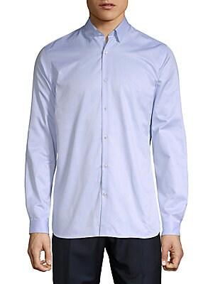 Plain Twill Button-Down Shirt