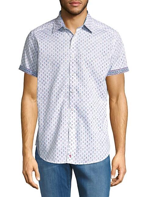 Cotton Short-Sleeve Button-Down Shirt
