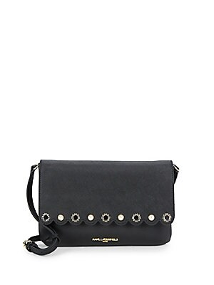 Scalloped Faux Pearl Leather Crossbody Bag