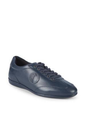 Medusa Leather Sneakers in Navy