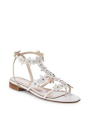 Jenisa Leather Flower Gladiator Sandals