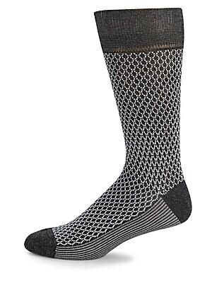 Geometric-Print Crew Socks