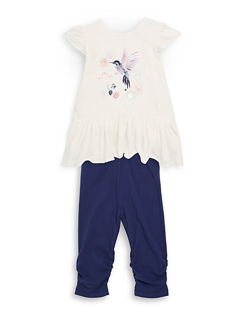 PETIT LEM | Baby Girl's Two-Piece Graphic Top and Leggings Set | Goxip