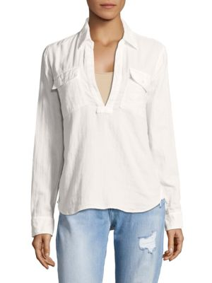 Lace Up Frenchie Classic Cotton Top in White