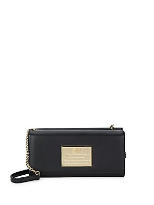 Metallic Plated Faux Leather Chain Wallet