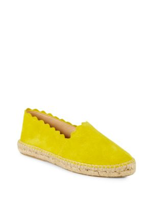 Marigold Suede Scallop Espadrilles in Yellow