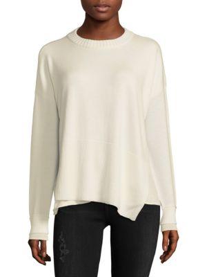 Derek Lam 10 Crosby  Asymmetric Wool-Blend Crewneck Sweater
