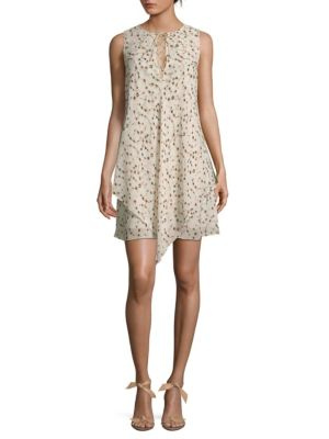 Derek Lam 10 Crosby Floral Lace-up Sleeveless Dress In Cream Multi