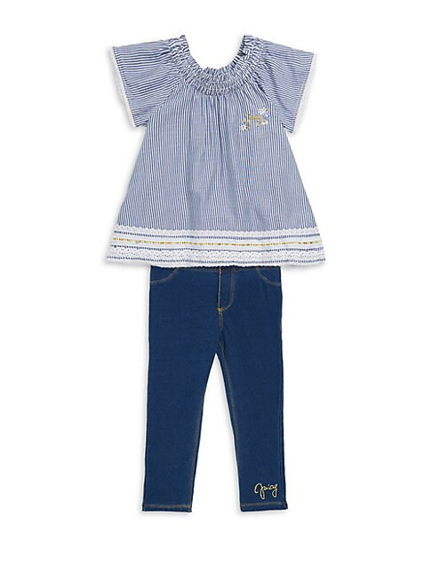 LITTLE GIRL'S TWO-PIECE STRIPED TOP AND LEGGINGS SET