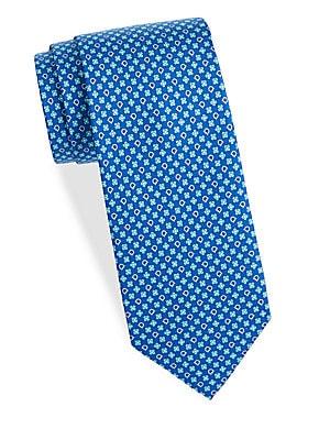 Floral Logo Silk Tie