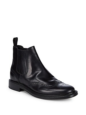 Brioni Goodyear Leather Brogue Ankle Boots