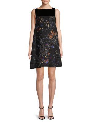 Wool Silk Galaxy Print Dress, Black
