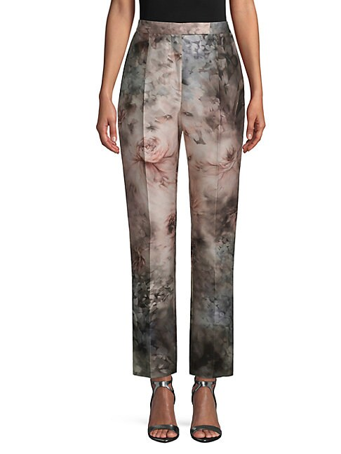 Cotton Silk Floral Pants