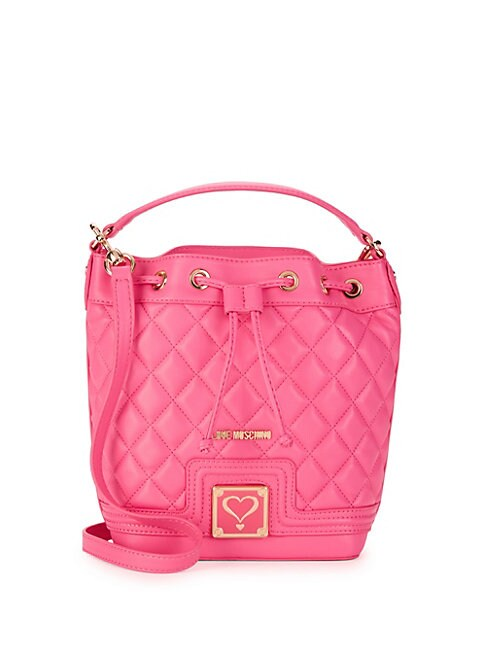 Quilted Faux Leather Bucket Bag