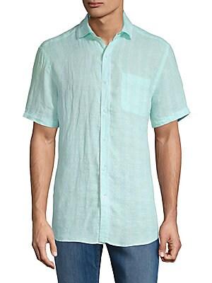 Striped Linen Button-Down Shirt