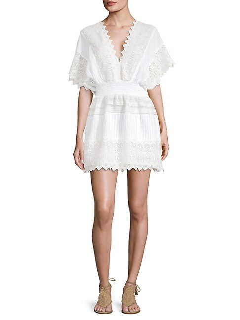 Kas New York V-NECK EMBROIDERED LACE DRESS