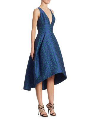 Monique Lhuillier Embroidered Lace X Back High Low Dress In Blue Green