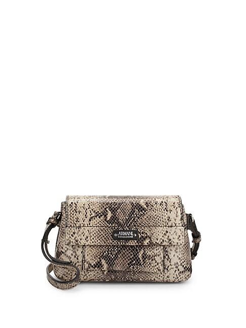 Snake-Print Leather Crossbody Bag