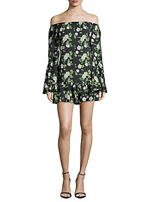 1st sight female floral print offshoulder mini dress