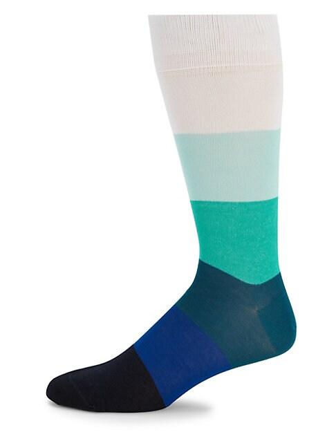 Variegated Multi-Stripe Crew Socks