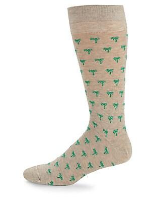 Palm Tree-Print Crew Socks