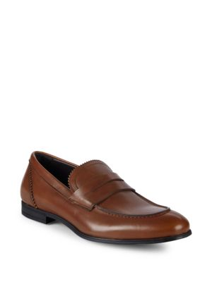 BRUNO MAGLI Berlino Leather Penny Loafers in Cognac