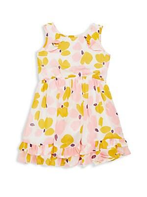 Little Girl's Paint Duab Ruffle Dress