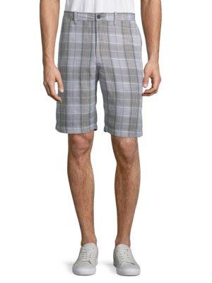Caldera Plaid Shorts, Dark Twill