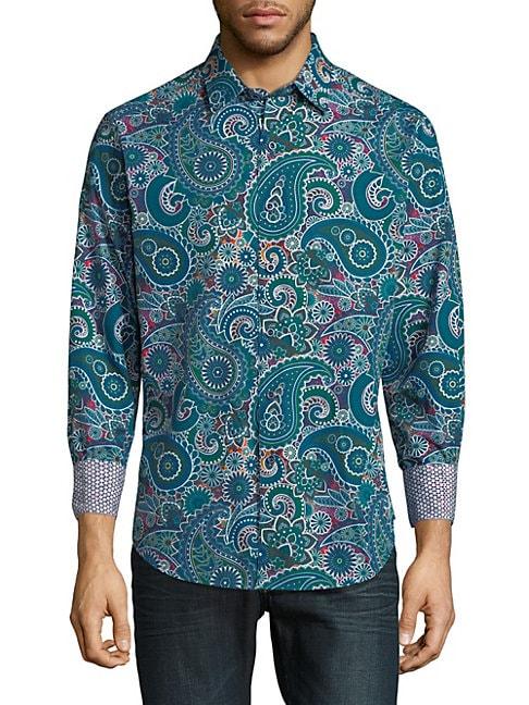 Paisley Cotton Button-Down Shirt