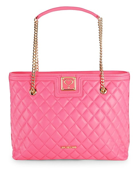 Quilted Chain Faux Leather Tote