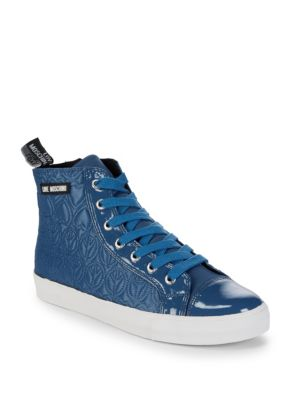 Quilted High-Top Sneakers in Blue