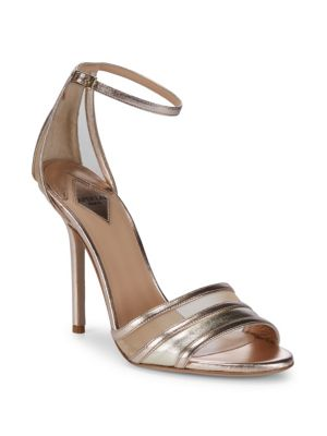 APERLAI Metallic Ankle-Strap Sandals in Gold