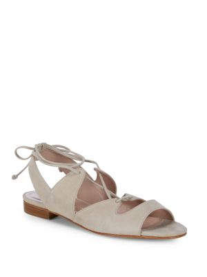 APERLAI Lace-Up Leather Slingback Flats in Beige