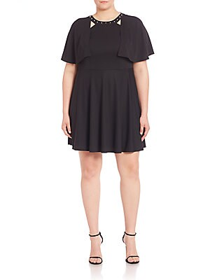 abs plus size female studded cape overlay dress