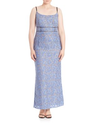 Abs By Allen Schwartz Plus Floral Lace Gown
