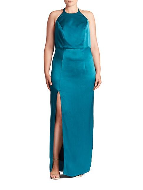 ABS | Plus Open-Back Halter Gown | Goxip