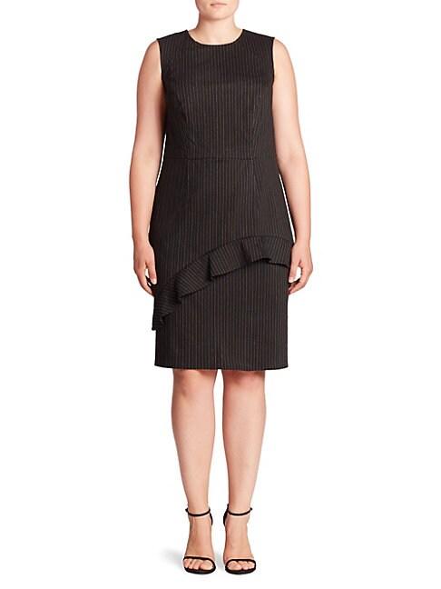 ABS | Plus Ruffle Pinstripe Sheath Dress | Goxip