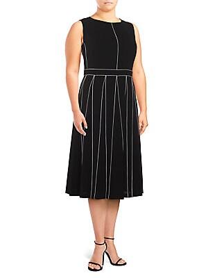 Plus Geometric-Print Midi Dress
