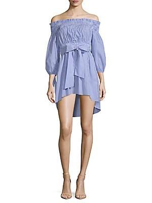 1st sight female offtheshoulder belted cotton dress