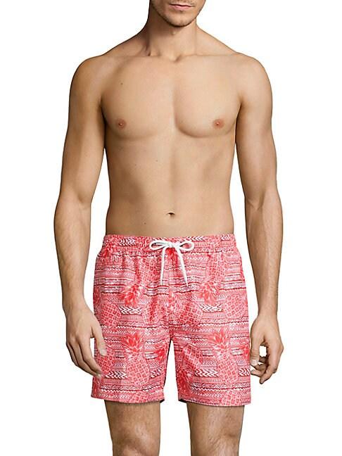 Tropical-Print Swim Shorts