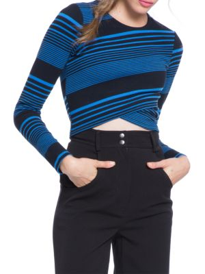 PLENTY BY TRACY REESE Variated Stripe Knit Crop Top in Lapis