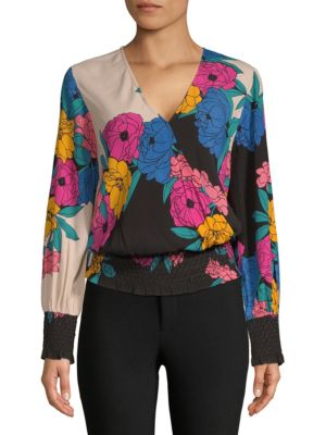 PLENTY BY TRACY REESE Smocked Surplice Top in Horizon Floral