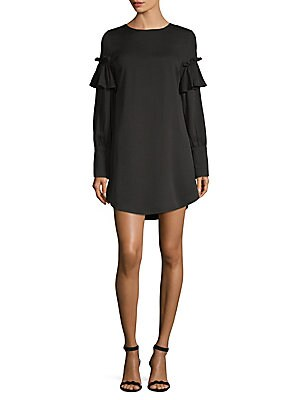 Ruffled Long-Sleeve Shift Dress