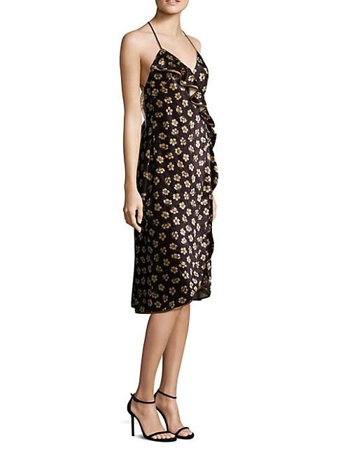 ABS | Floral-Print Velvet Wrap Dress | Goxip