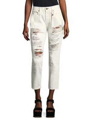 Tortoise Savanna Embroidered Distressed Straight-Leg Jeans