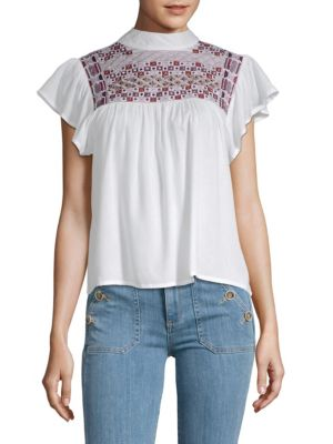 Diana Embroidered Ruffled Top, Eggshell