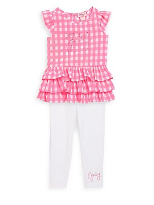 Little Girl's Two-Piece Checkered Top and Leggings Set