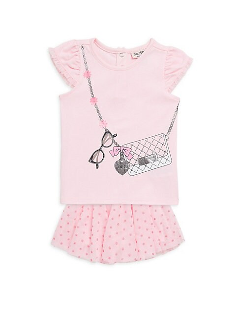 LITTLE GIRL'S TWO-PIECE TOP AND SKIRT SET